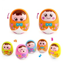 Cartoon Tumbler Doll Roly-poly Mobile Musical Rattles Toys For baby toys for babies Mini Girl baby Toy Matlyoshka Tumbler doll(China)