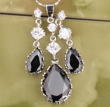 Rushed Gracious Eyes Black Onyx 925 Sterling Silver Overlay Jewelry Sets Earrings Pendant S8047