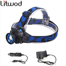 cree Q5 Led bright Headlamp Head light head Flashlight head Build-in Rechargeable Head lamp Zoomable(China)