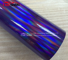 Free shipping Purple holographic chrome rainbow vinyl film car wrap rainbow sticker with size:1.49x20m/Roll