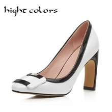 Fashion Color Block Decoration Women's Medium Heel Platform OL Office Shoes Woman Buckle Special Thick High Heel Women Pumps