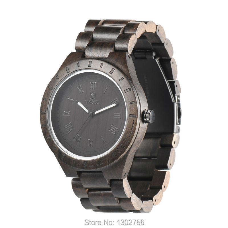 Luxury UWOOD Brand Fashion Perfect Design Black Sandal Men Wooden Wristwatch Wood Watch For Men Gift Free Shipping<br>