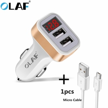 Olaf Car Charger Digital Display Dual Port USB Adapter 2.1A Car-charger Double USB for iPhone iPad Samsung Xiaomi Phone Charging(China)