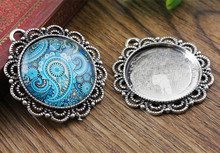 New Fashion 3pcs 25mm Inner Size Antique Silver Cool Style Cabochon Base Setting Charms Pendant (A6-37)(China)