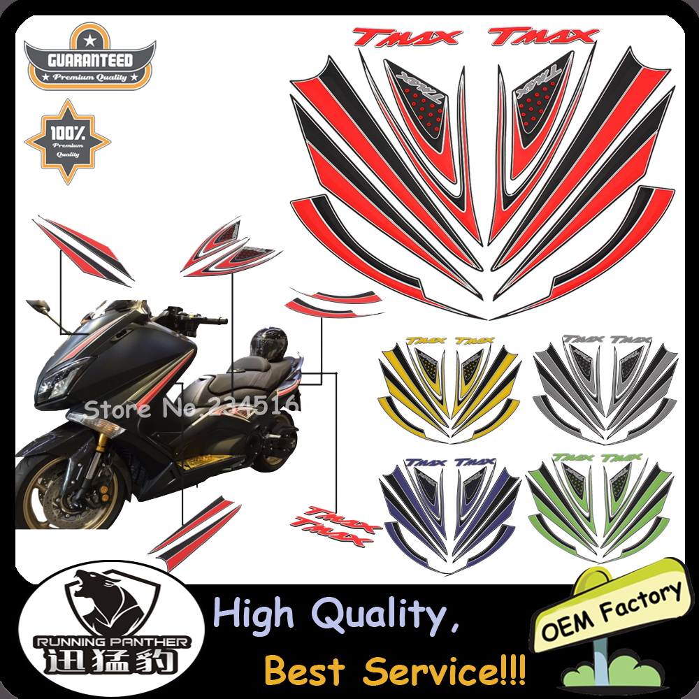 New Raised 3D Chrome Yamaha TMAX 530 500 Silver Decal Fuel Tail Faring Sticker