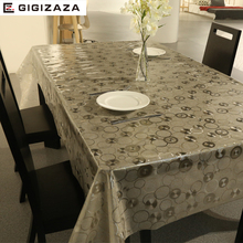 PVC European style gold square table cloth waterproof Oilproof non wash plastic pad plus velvet anti hot coffee tablecloth C4041