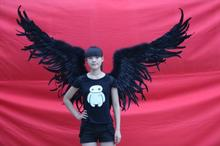 2015 new arrival black angel wings nice model catwalk shows performent wing props Demon wings photopraphy cosplay props
