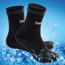 Neoprene 3mm Antiskid Water Sports Swimming Scuba Diving Surfing Socks Snorkeling Boots Black Pink XS- XL for Men and Women