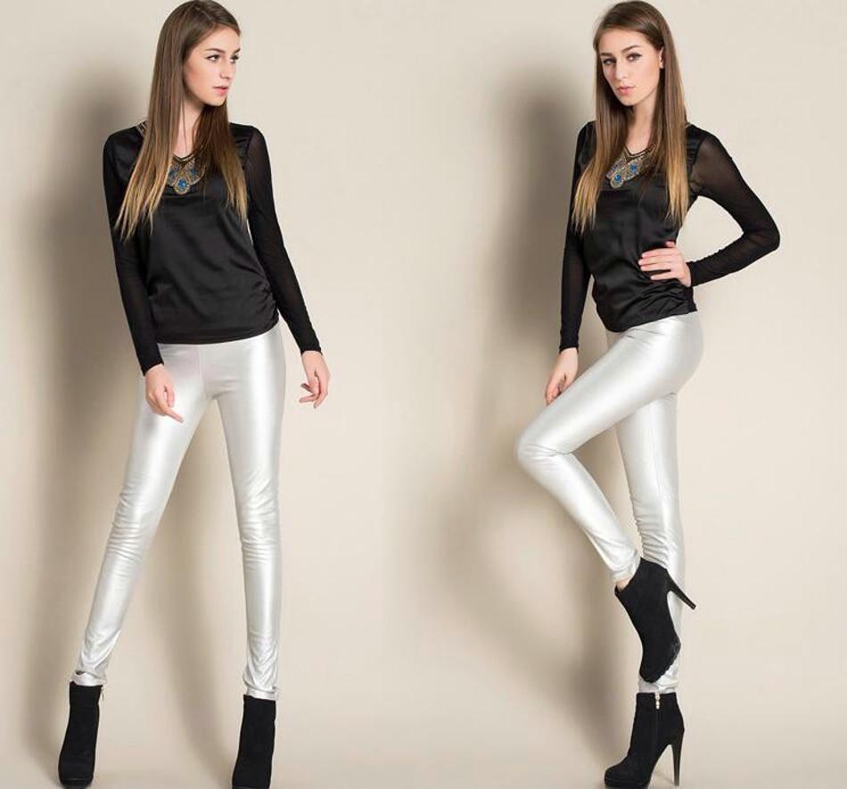 Leggings winter Women High Waist PU Leather Legging Slim Faux Pants Female Fashion Warm Leggings Women 070213