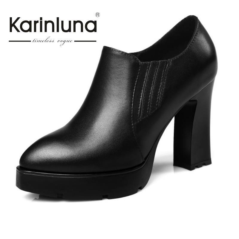KarinLuna 2017 New Arrivals Super High Thick Heel Women Pumps Shoes Sexy Thick Platform Pumps Slip On Party OL Shoes Woman<br><br>Aliexpress