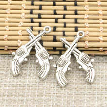 10pcs Charms crossed pistols revolvers western 31*23mm Tibetan Silver Plated Pendants Antique Jewelry Making DIY Handmade Craft(China)