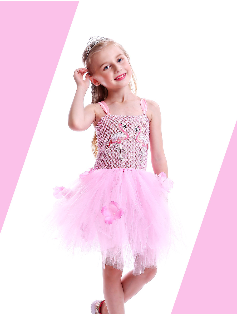Girls Flamingo Kiss Tutu Dress Cartoon Flamingos Flower Princess Dresses for Photo Birthday Party Dress Up Clothing Summer Dress (2)