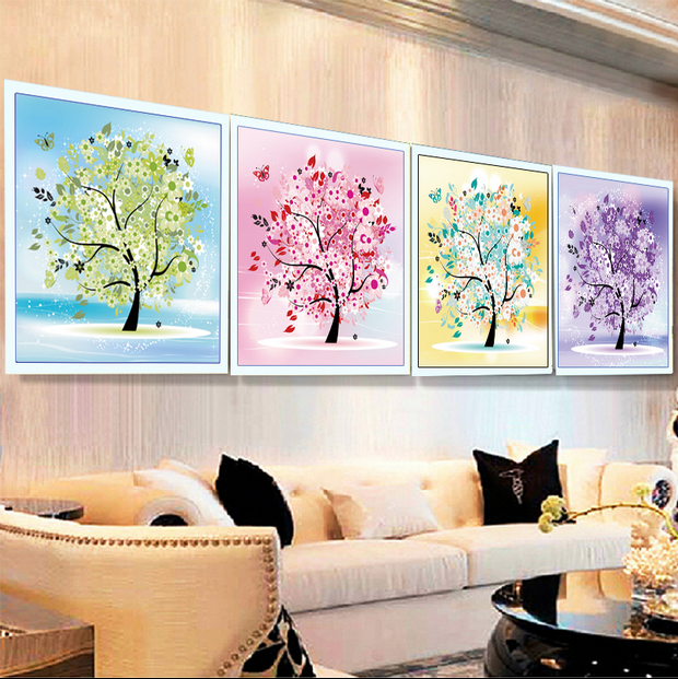 5d diy diamond painting happy fortune tree four seasons spring and summer autumn and winter mosaic cross stitch home decor(China)