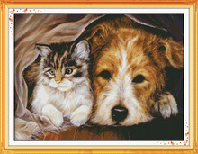 Cat and dog Stay together Printed Canvas DMC Counted Cross Stitch Kits printed Cross-stitch set Embroidery Needlework(China)