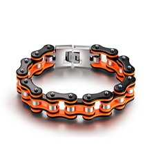 SDA Men's Bracelets Motorcycle-Chain 316l-Stainless-Steel Jewelry Orange Black YM079