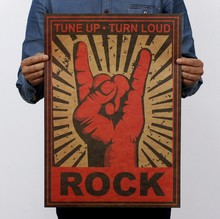 Keep On Rock Gesture Vintage Kraft Paper Movie Poster Home Decor Wall Decals Art Removable Retro Painting(China)