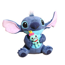 Cute Kawaii Stitch Plush Doll Toys Anime Lilo and Stitch 25cm Sitting Stich Plush Toys Carton Gifts for Babies Kids Birthday(China)