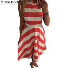 YJSFG HOUSE Women Fashion Summer Sleeveless Striped Evening Party Dresses Ladies Sexy Sleeveless Tunic Midi Office Shirt Dress