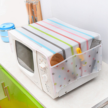1pcs Plastic Microwave Cover Microwave Oven Hood Microwave Dust Cover With Storage Bag(China)