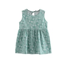 2017 New Princess Summer Toddler Girl Sleeveless Floral Printed Dresses A-line  Party Dance Evening Vest Dresses Hot Sales