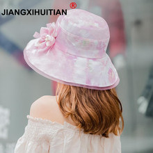 bc59bbc28cc pearl Summer Hats For Women Gradient Color Flowers Sun Hat Visor Cloth Wide  Brim Beach Hat Female Lady Panama Cap Chapeau Femme