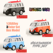 1:36 Alloy Toy Vehicles all 3color Set Volkswagen Bus Model Alloy Lighting sound Toy Metal Car Toy Model Mini Pull Back bus(China)