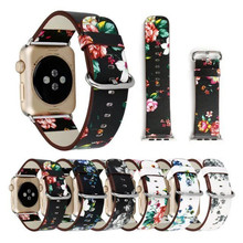 Premium Leather WristBand For Apple Watch Strap 38mm 42mm British Rural Style Flower Bnad Replacement For iWatch All Models(China)