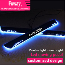 2pcs Car Led moving door scuff car pedal door sill plate steps light welcome pedal for Honda Civic accord CRV City Jazz 2006-15