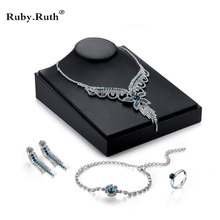 Jewelry Sets For Women Green Stones White Silver Color CZ Bracelet Earrings Necklace Pendant Rings wedding Gift(China)