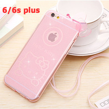 luxury phone case for iphone 6 plus 5.5 inch soft tpu couro hello kitty with neck strap ultra thin protective cases pink bowknot