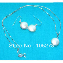 Wholesale Pearl Jewellery Set White Color Coin Shaper 12-13mm Natural Freshwater Pearl Pendant Necklace 925 Silver Earrings