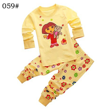 Children Clothing Sets Baby boy's pajamas suits Girls Clothing Sets sleepwear Dora/kitty/pajamas 100% cotton set shirts+trousers