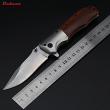 Dcbear Best Folding Knives 440C Steel Outdoor Tops Knife Multifunctional Tools Wood Handle Hunting Survival Knives