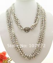 "3 strands 46"" Grey Pearl Necklace"