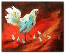 CONTEMPORARY Free Shipping Chicken decoration hand painted On Canvas 20x24 inch chicken duck goose oil painting 0008