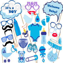 29pcs Baby Shower 2017 New Photo Booth Props Boy Girl Fun 1st Birthday banner gift Party favor Decoration PhtotoBooth supplies