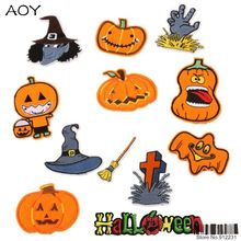 Newest Funny Halloween Pumpkin Skull Patches for clothing iron on embroidered patch for kid Applique Sewing DIY accessory(China)
