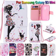 Beautiful PU Leather Cell Phone Case Flip Cover For Samsung Galaxy S3 mini i8190 Full Shockproof Bags+Hand Strap