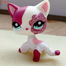 Pet shop Sparkle Eyes White Red Short Hair kitty action figure girl's Collection classic animal pet LPS toys free shipping