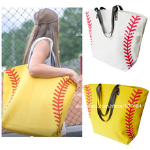 Super Large High Quality Softball Baseball Canvas Cotton Girls Tote Bags Team Players Accessories Yellow White Handbags(China)