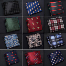 Luxury Men's Handkerchief Polka Dot Striped Floral Printed Hankies Polyester Hanky Business Pocket Square Chest Towel 23*23CM(China)