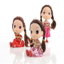 2017 Hot Sale 1pcs 12cm Hard Head Confused Catoon Dolls Accessories Mini Dolls for Girl's Toy Doll Pendant Toys with Keychain