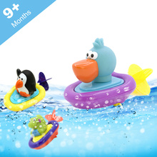 Cute Animal Design Baby Boy Girl Bathroom Toys Penguin Duck Dinosaurs Water Bath Bauble Colorful Soft Material Kids Wind up Toys