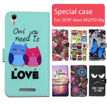 Fashion cartoon printed flip wallet leather case for DEXP Ixion MS250 Sky with Card Slot phone bag book case,free gift