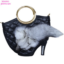 Ladies Handbags Black Graceful High-end Fox PU Big Luxury Bag New Fashion Handbag 2017 Hot-selling Unique High Heel Shoes Bolso(China)