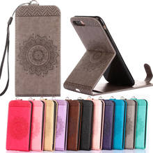 "Luxury Phone Bags for 5s 5G 4s 6s SE 7 plus 5.5"" Case Emboss flower Leather Stand Pouch Flip Vertical Wallet for iphone 7 coque"