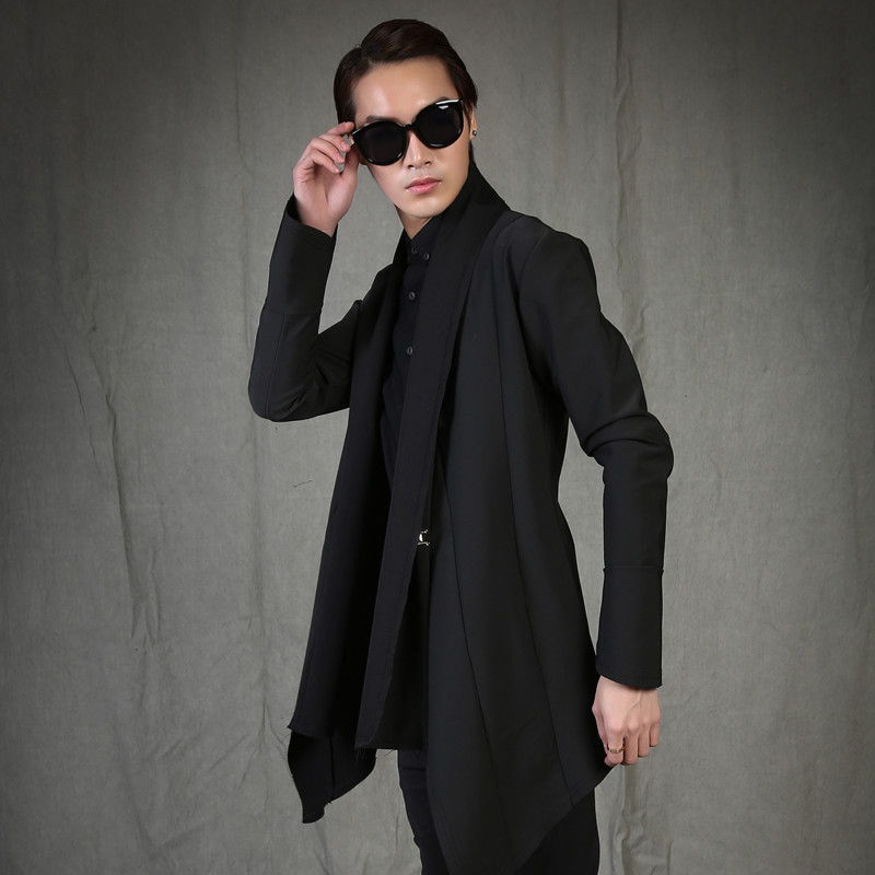 2017 Big yards men's  outerwear fashion personality fashion slim medium-long trench male black no buttonThe singer's clothing