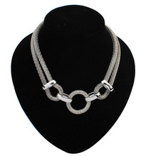 Silver Plated Link Mesh Chain Statement Necklace Women Choker Necklaces & Pendants Summer Style Punk Jewjlry For Gift Party N152