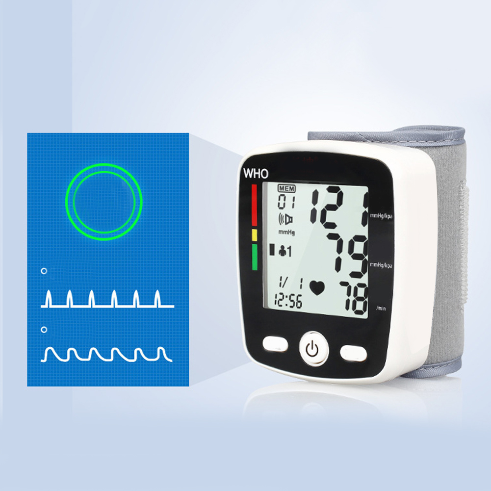 Portable Intelligent Digital Automatic Wrist Blood Pressure Monitor LCD Display Household Health Care Blood Monitors 14