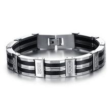 Black Best Friends Bangles Made Of Silicone Mix Stainless Steel Bracelet Men Classic Luxury Man Bracelets Fashion Male Jewelry